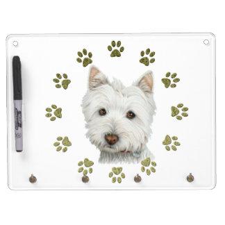 かわいいWestie犬の芸術および足 キーホルダーフック付きホワイトボード