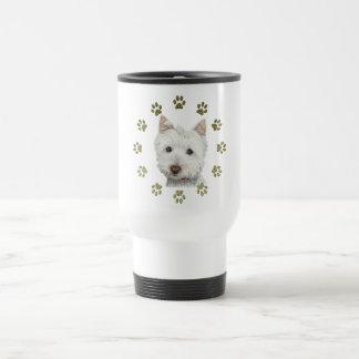 かわいいWestie犬の芸術および足 トラベルマグ
