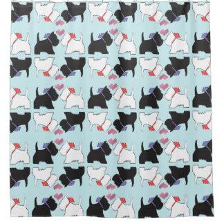 かわいいWestie犬の芸術のシャワー・カーテン シャワーカーテン
