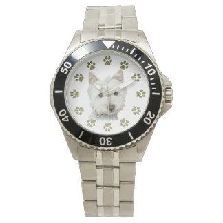かわいいWestie犬の芸術の腕時計 腕時計