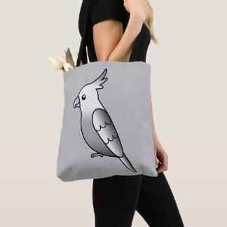 かわいいWhitefaceのCockatielの漫画の鳥のイラストレーション トートバッグ