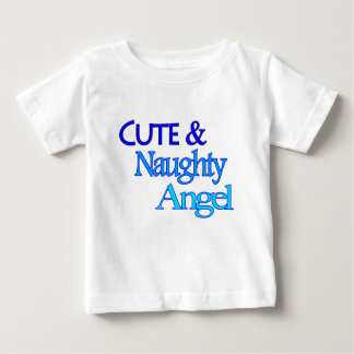 かわいくいけない天使のおもしろいの青いデザイン ベビーTシャツ