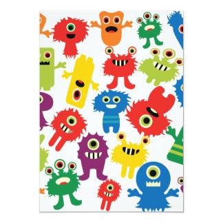 かわいくおもしろいでカラフルなモンスターパターン カード