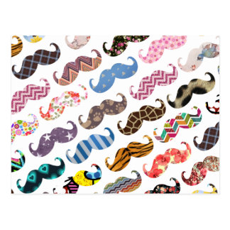 かわいくおもしろいでカラフルな髭パターン ポストカード