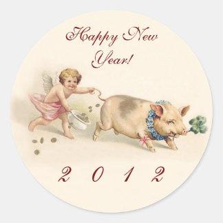 かわいくおもしろいなブタおよび天使-明けましておめでとう2012年 ラウンドシール