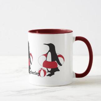 かわいくおもしろいな水泳のペンギンの夏のおもしろいの子供の名前 マグカップ
