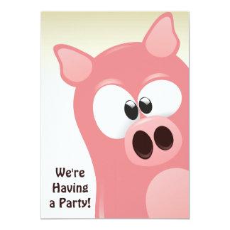 かわいくおもしろいな漫画のピンクのブタの誕生日の招待状 カード