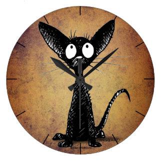 かわいくおもしろいな漫画の黒猫 ラージ壁時計