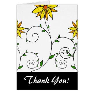 かわいくお洒落で黄色い花の落書きの芸術 カード