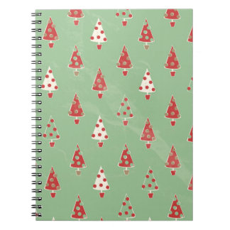 かわいくお洒落なクリスマスツリーパターン ノートブック