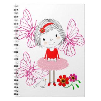 かわいくお洒落な小さな女の子の蝶花 ノートブック