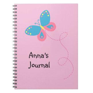 かわいくお洒落な蝶名前入りなノート ノートブック