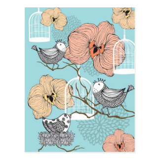 かわいくかわいらしいヴィンテージの花の鳥及び鳥かご ポストカード