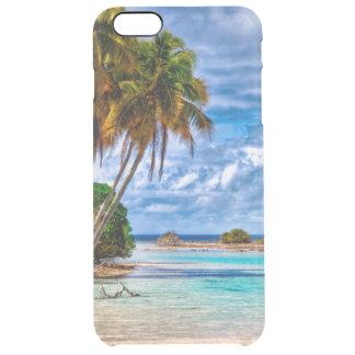 かわいくかわいらしい夏のハワイのビーチの水彩画 クリア iPhone 6 PLUSケース