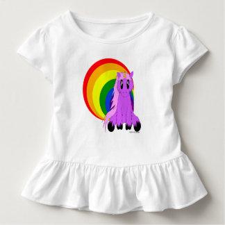かわいくだらしないユニコーンwの虹の幼児のひだのティー トドラーTシャツ