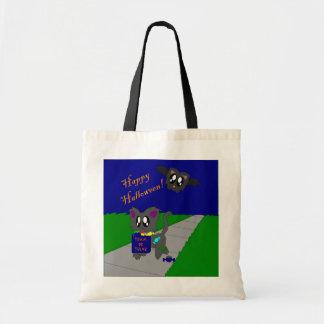 かわいくだらしない動物のハロウィン場面バッグ トートバッグ