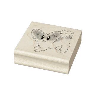 かわいくだらしないPapillonの小犬のゴム印 ラバースタンプ