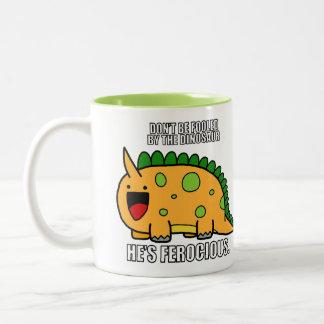 かわいくどう猛な恐竜RAWRのミームのマグ ツートーンマグカップ