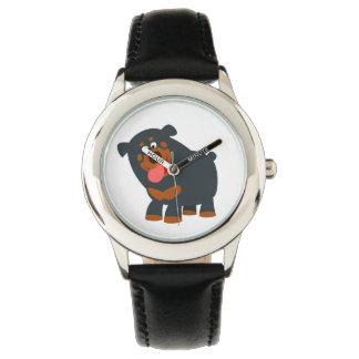 かわいくよくはしゃぐな漫画のロットワイラーの腕時計 腕時計