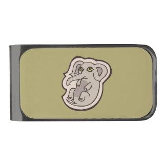 かわいくよくはしゃぐな灰色のベビー象のスケッチのデザイン ガンメタル マネークリップ