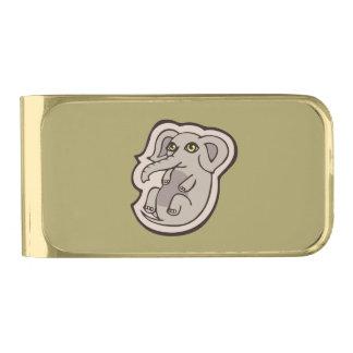 かわいくよくはしゃぐな灰色のベビー象のスケッチのデザイン 金色 マネークリップ