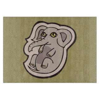 かわいくよくはしゃぐな灰色の赤ん坊象のスケッチのデザイン カッティングボード