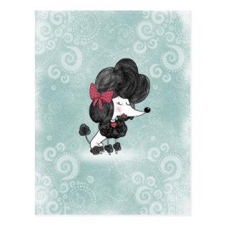 かわいくエレガントでフランスのなプードルのガーリーな漫画 ポストカード