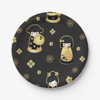 かわいくエレガントで黒い金ゴールドの日本のな人形および花 ペーパープレート
