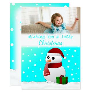 かわいくカスタムなサンタの雪だるまのクリスマスの写真カード カード