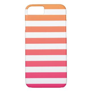 かわいくカラフルでプレッピーなオレンジピンクの白のストライプ iPhone 8/7ケース