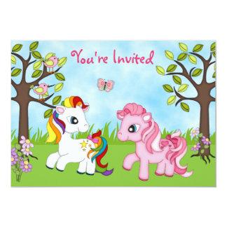 かわいくカラフルな子馬の女の子の馬の誕生日の招待 12.7 X 17.8 インビテーションカード
