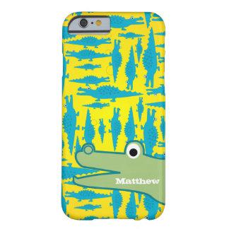 かわいくカラフルな水および黄色いわにパターン BARELY THERE iPhone 6 ケース
