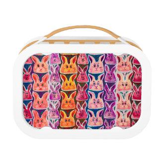 かわいくカラフルな水彩画のバニーウサギのお弁当箱 ランチボックス