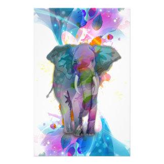 かわいくカラフルな水彩画の(ばちゃばちゃ)跳ねる象 便箋