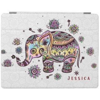 かわいくカラフルな花の赤ん坊象の絵 iPadスマートカバー