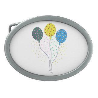 かわいくカラフルな誕生会の気球 卵形バックル