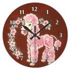 かわいくガーリーで柔らかいピンクのプードル犬 ラージ壁時計