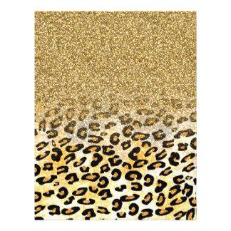 かわいくガーリーで粋なイエロー・ゴールドの模造のなグリッターのヒョウ チラシ