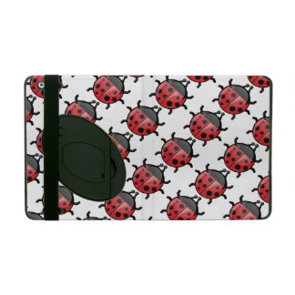 かわいくガーリーで赤いてんとう虫パターン iPad ケース
