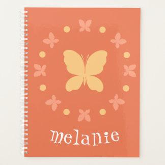 かわいくガーリーで軽い珊瑚、黄色、オレンジ蝶 プランナー手帳