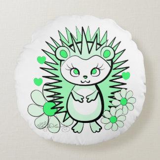 かわいくガーリーなハリネズミの緑 ラウンドクッション