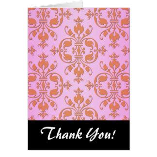 かわいくガーリーなピンクおよび黄色いダマスク織 カード