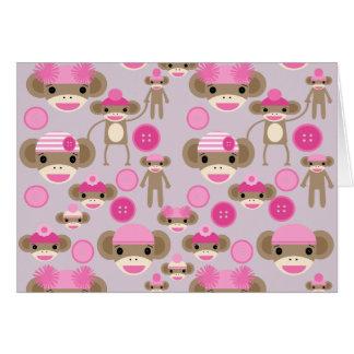 かわいくガーリーなピンクのソックス猿の女の子パターンコラージュ カード