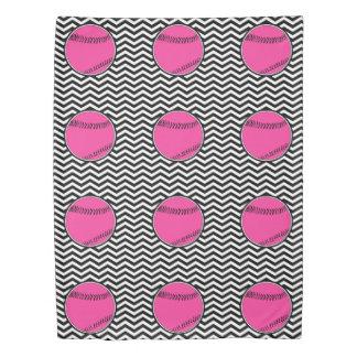 かわいくガーリーなピンクのソフトボールの羽毛布団カバー毛布 掛け布団カバー