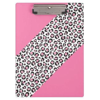 かわいくガーリーなピンクのヒョウのチータのストライプ クリップボード