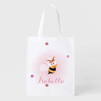 かわいくガーリーなピンクのフラワー・ガールの蜂の結婚式の引き出物 エコバッグ