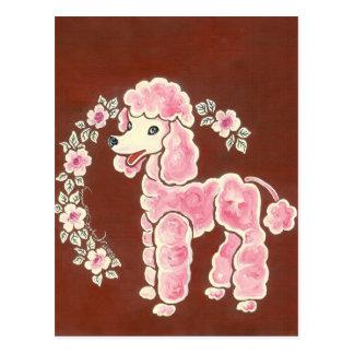 かわいくガーリーなピンクのプードル犬 葉書き