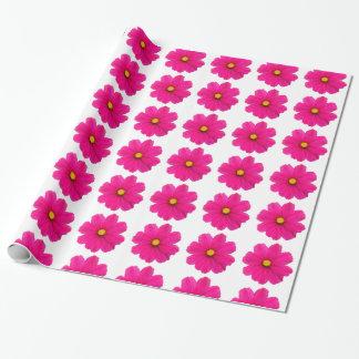 かわいくガーリーなピンクの花模様の包装紙 ラッピングペーパー