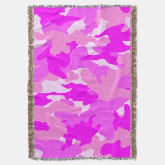 かわいくガーリーなピンクの迷彩柄の軍隊によって編まれるブランケット スローブランケット