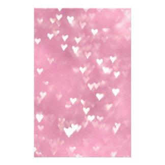 かわいくガーリーなピンクの《写真》ぼけ味のハート 便箋